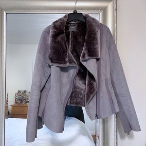 FULLY LINED FAUX SUEDE AND FAUX FUR COAT